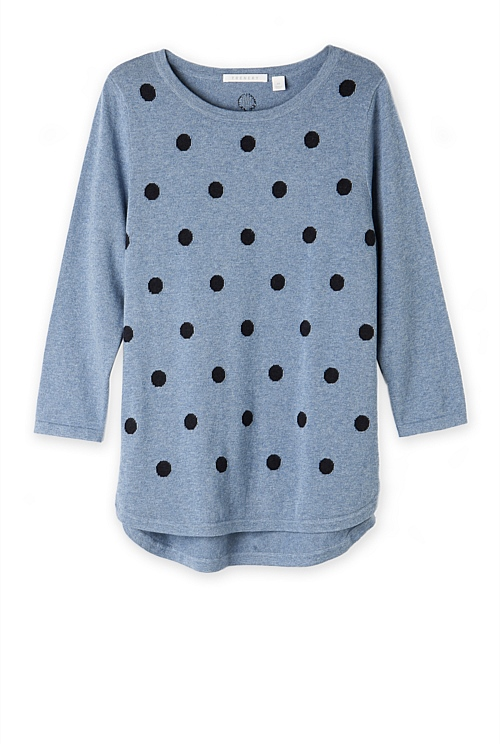 Spot Cotton Curved Hem Knit