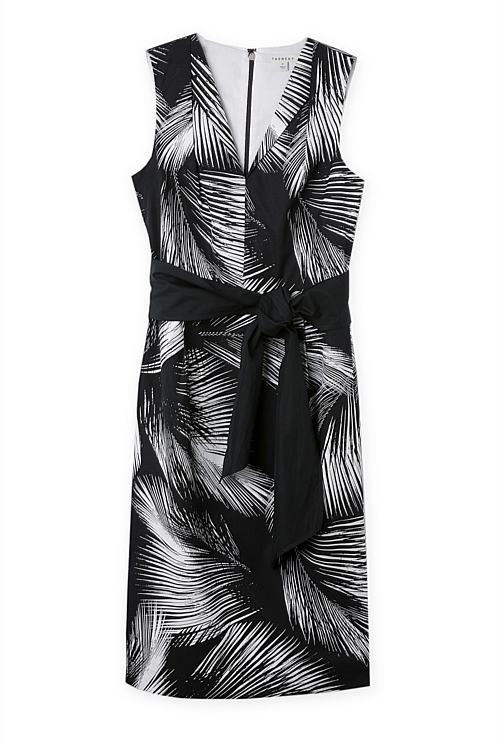 Cotton Poplin Tropical Print Sheath Dress