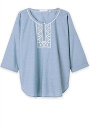 Cotton Chambray Embroidered Top
