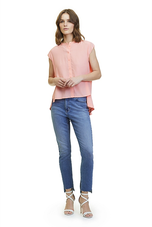 Silk Cap Sleeve Shirt